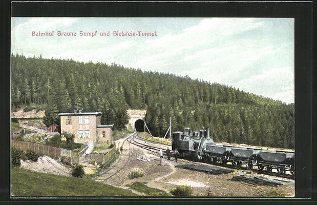 AK Harz-Zahnrad-Bahn, Bahnhof Braune Sumpf und Bielstein-Tunnel