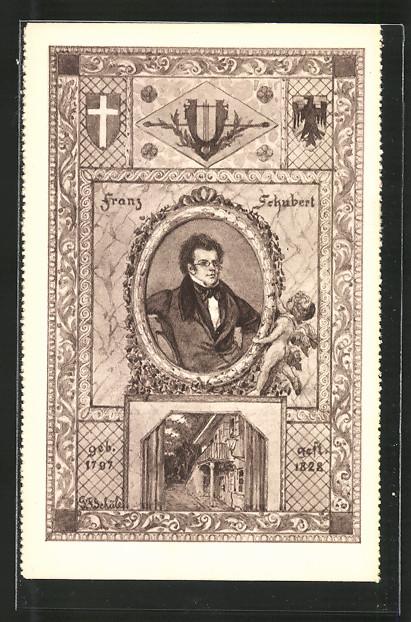 Künstler-AK Komponist Franz Schubert und Wohnung
