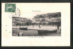 AK St-Chamas, vue du Port et du Baou, Boote im Hafen
