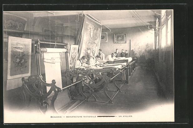 AK Beauvais, Blick das Atelier der TeppichWeberei Nr