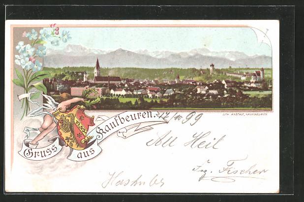 Lithographie Kaufbeuren, Gesamtansicht, Engel mit Wappenschild