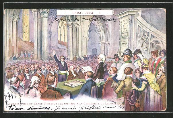 Künstler-AK Lausanne, Grand Conseil 1803 a la Cathedrale de Lausanne, Gründung des Kantons Waadt