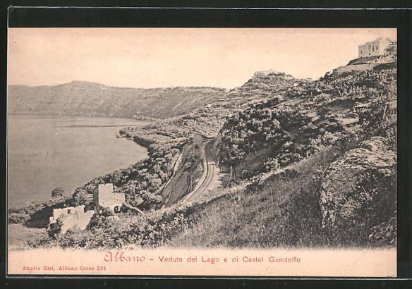 AK Albano, Veduta del lago e di Castel Gandolfo