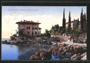 AK Icici, Ortsansicht mit Villa Triestina und Villa Tomasic