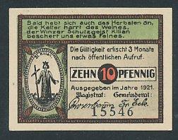 Notgeld Langewiesen, 1921, 10 Pfennig, St. Kilian, Tischler bei der Arbeit