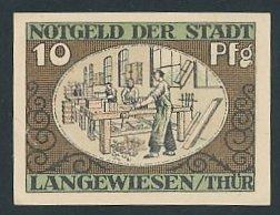 Notgeld Langewiesen, 1921, 10 Pfennig, Tischler bei der Arbeit, Heiligenbild St. Kilian