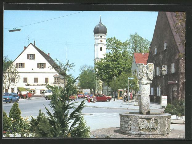 ak markt schwaben marktplatz mit brunnen und kirche nr