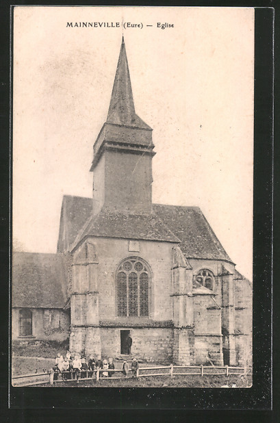 AK Mainneville, l'église, Kinder vor Kirche