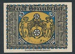 Notgeld Osnabrück, 1921, 5 Pfennig, Wappen der Stadt, Lyra-Denkmal
