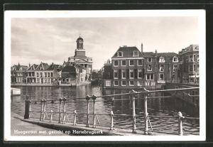 AK Leiden, Hoogstraat met gezicht op de Hartebrugkerk