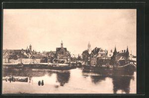 AK Delft, Blick zum Ort, Gezicht op Delft