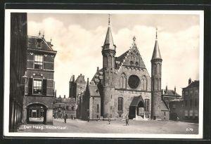 AK Den Haag, Ridderzaal mit Passanten