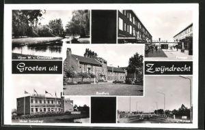 AK Zwijndrecht, Vijver W. v. Oranjelaan, Raadhuis, Hotel Swindregt, Tunnel, Passage