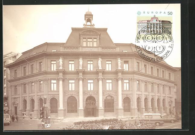 Maximum-AK Europa CEPT-Marken 1990, Postgebäude Luzern