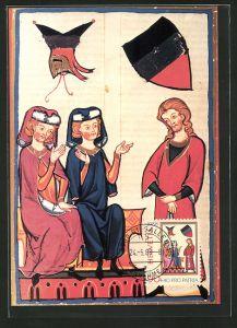 AK Pro-Patria-Marken 1988, 700 Jahr Kunst und Kultur, Schweizer Minnesänger, Hardegger