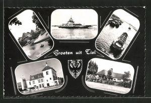 AK Tiel, Vogeleilandje, Pont Tiel-Wamel, De Dluje, Hotel Telkamp, De Zandhullen