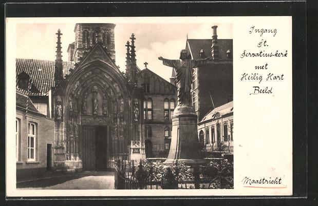 AK Maastricht, Ingang St Servatius-Kerk met Heilig Hart Beeld