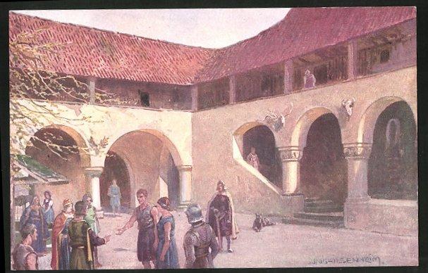 Sammelbild Tauriskia, Moosberg 1220, Freilassung eines Hörigen, Entwurf: Franz Xaver Jung, A. Hofer Feigenkaffee Parsch