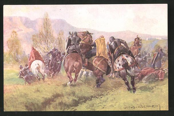 Sammelbild Tauriskia, Etschtal um 1158, Die Eppan, Entwurf: Franz Xaver Jung, Andre Hofer Feigenkaffee Parsch