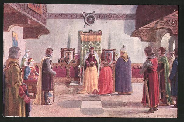 Sammelbild Tauriskia, Lehenseid im Fronhof zu Augsburg 1282, Entwurf: Franz Xaver Jung, A. Hofer Feigenkaffee Parsch