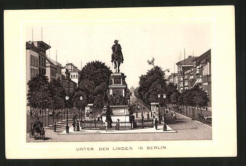 Sammelbild Berlin, Unter den Linden, Denkmal Friedrich der Grosse, Schicht's Patent-Seife, Georg Schicht Aussig a. E.