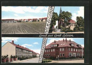 AK Gross Giessen, Strassenpartie mit Gebäudeansicht, Kirche, Ortsansicht
