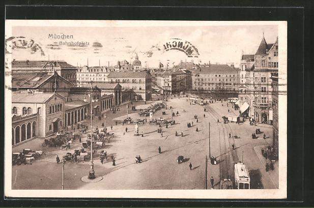 AK München, Blick auf den Bahnhofsplatz