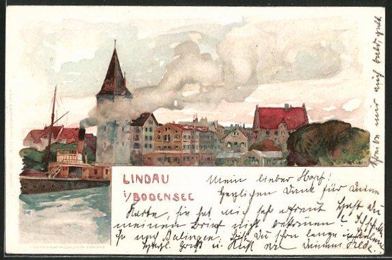 Künstler-Lithographie Fritz Voellmy: Lindau, Dampfer passiert die Stadt