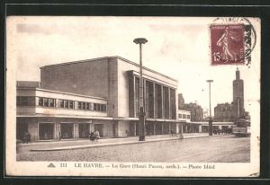 AK Le Havre, La gare, Architekt Henri Pacon, Strassenbahn