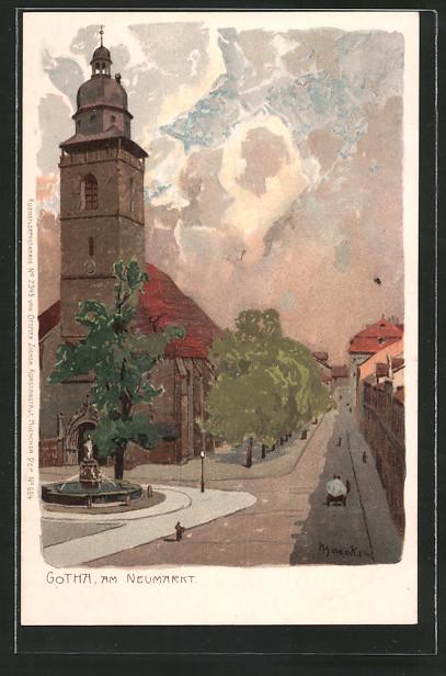 Künstler-Lithographie Alexander Marcks: Gotha, Kirche am Neumarkt