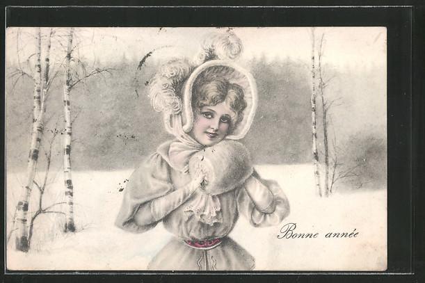 Künstler-AK Brüder Kohn (B.K.W.I) Nr. 2655/1: schöne junge Frau mit Muff, Neujahr
