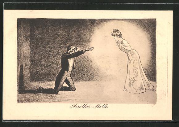 Künstler-AK James Henderson + Sons Nr. 81: Mann wird von einer hell strahlenden Frau angezogen,