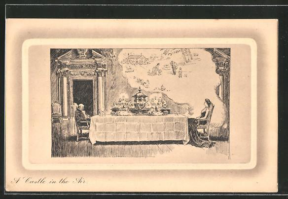 Künstler-AK James Henderson + Sons Nr. 797: Reiches Paar am Tisch, die Frau träumt von einem einfachen Leben