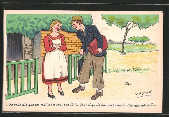 Künstler-AK sign. V. Spahn: Mann und Frau im Gespräch,