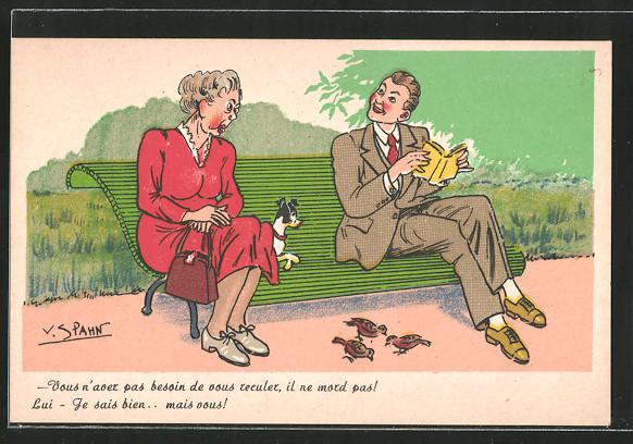 Künstler-AK sign. V. Spahn: Vous n'avez pas besoin de vous reculer..., ältere Dame und junger Mann auf Parkbank