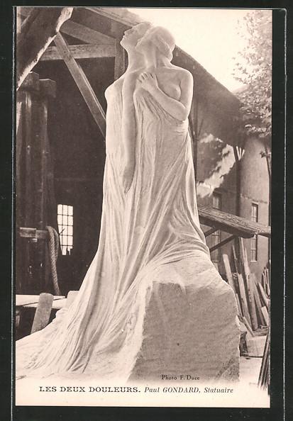 Künstler-AK Paul Gondard: Les Deux Douleurs, Statue, Frauenbildnis