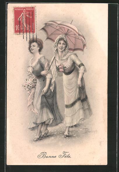 Künstler-AK Brüder Kohn (B.K.W.I) Nr. 613-4: Bonne Fête, junge Damen mit Regenschirm