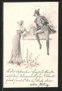 Künstler-AK Brüder Kohn (B.K.W.I) Nr. 731-3: junge Dame und Kavalier