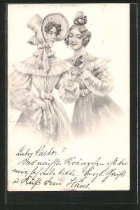 Künstler-AK Brüder Kohn (B.K.W.I) Nr. 730-6: Freundinnen mit Spiegel