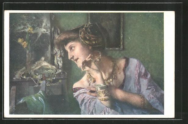 Künstler-AK Brüder Kohn (B.K.W.I) Nr. 1501: Vor dem Spiegel, junge Dame mit Schmuck, Vanitas
