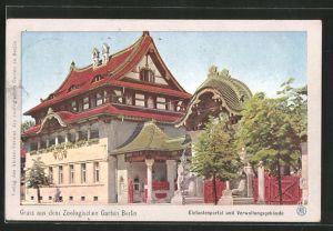 AK Berlin, Zoologischer Garten, Verwaltungsgebäude am Elefantenportal