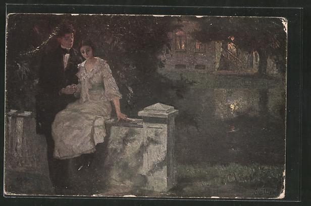Künstler-AK Wohlgemuth & Lissner, Primus-Postkarte No. 3234: junges Paar an einer Mauer