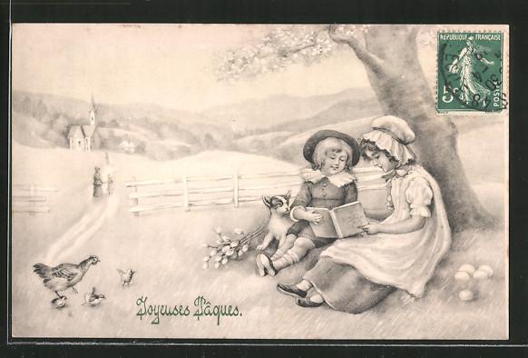 Künstler-AK V.K., Vienne Nr. 4059: zwei Kinder mit einem Buch unter einem Baum