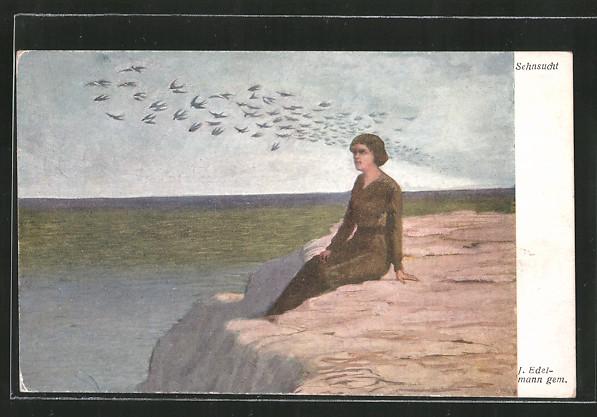 Künstler-AK Brüder Kohn (B.K.W.I) Nr. 2098: Sehnsucht, Frau am Meer