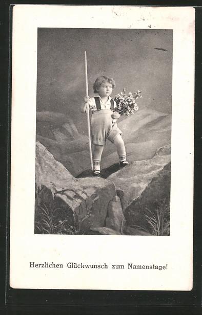 Künstler-AK Brüder Kohn (B.K.W.I) Nr.242-4: Junge gratuliert mit Blumenstrauss zum Namenstag