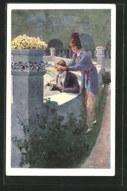 Künstler-AK Brüder Kohn (B.K.W.I) Nr.332-5: Junge Frau überrascht ihren Liebsten und deckt seine Augen zu