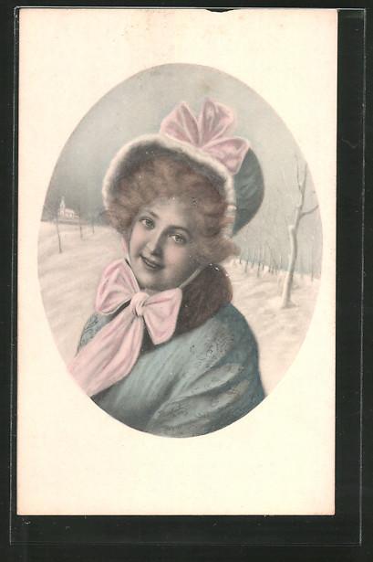 Künstler-AK Brüder Kohn (B.K.W.I) Nr.696-3: Junge Frau im Wintermantel mit Schleife um den Hals