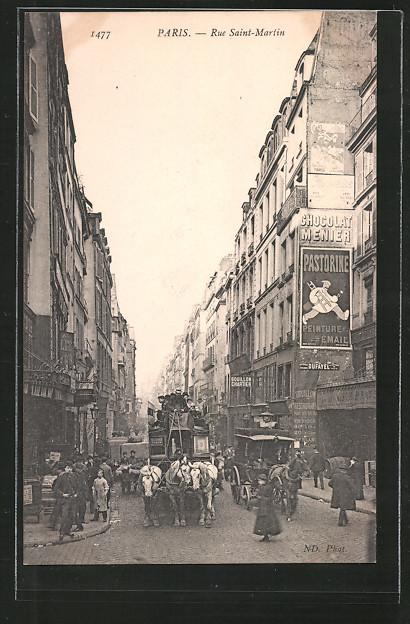 AK Paris, Rue Saint-Martin mit Geschäften, Pferdekutsche