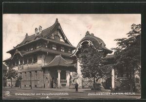AK Berlin, Zoologischer Garten, Elefantenportal und Verwaltungsgebäude
