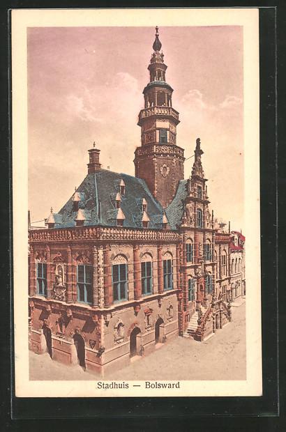 AK Bolsward, Stadthuis, Partie am Rathaus